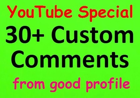 30+ YouTube Custom Comments with Real Human profile pictures & 30 Likes bonus