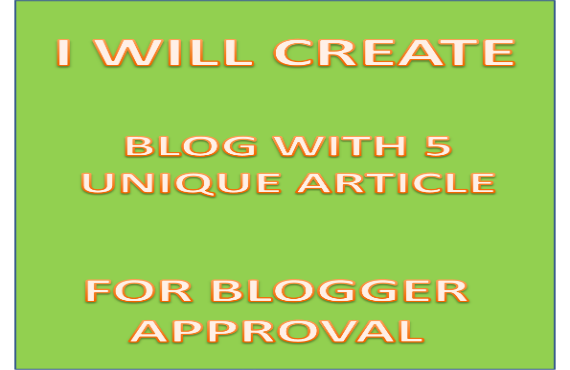 create blogger blog with 15 keyword related articles plus logo and banner