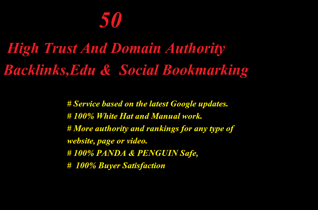 create,50,Backlinks,edu gov and social bookmarking for you