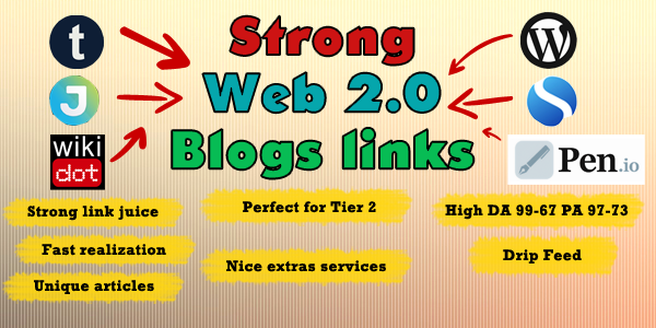 Prepare 100 Web 2.0 Blogs with your backlink, Perfect service for Tier 2