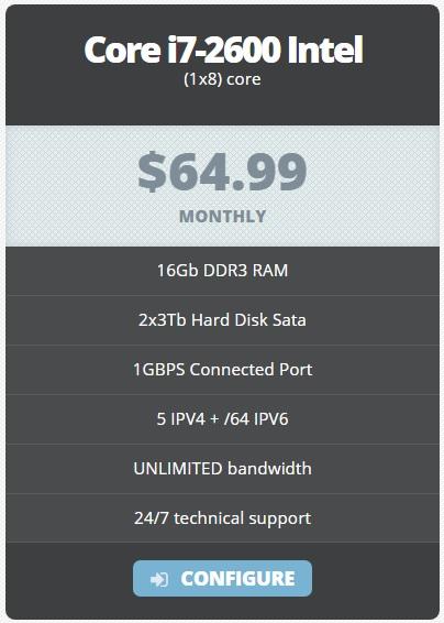 Cheap dedicated server 64.99/M