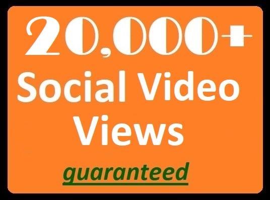 20,000+ Social Views to posted videos High-quality Pr...