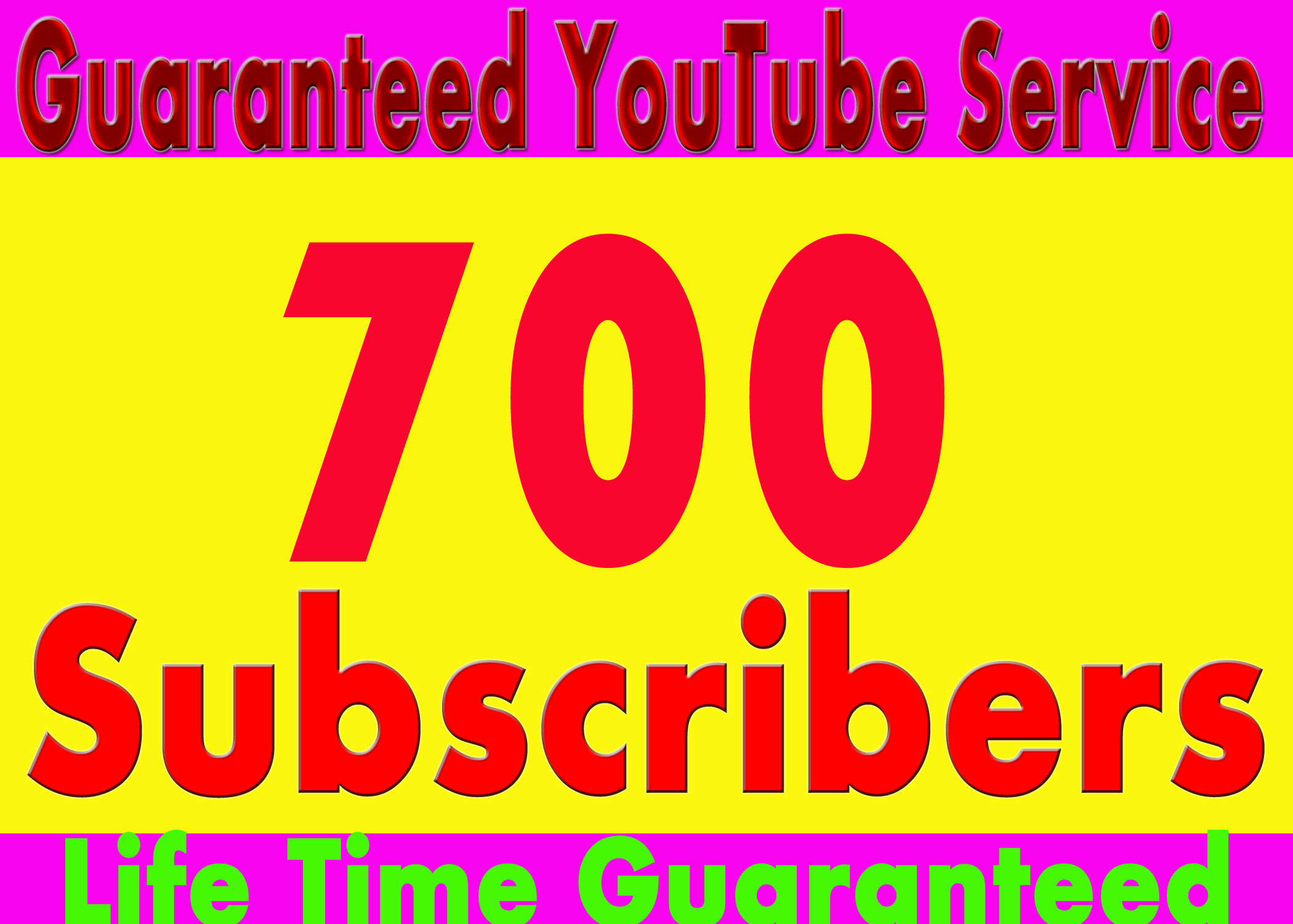 Get Guaranteed Worldwide 700 YouTube Real Su bscribers Instant Start only