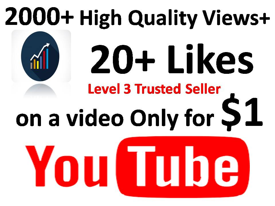 2000+ High Quality Views+ 20+ Likes  on a video or 50 sub