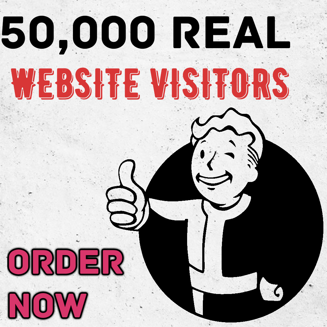 Real genuine 50,000+  traffic visitors on your website