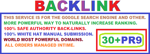 1ST PAGE YOUR WEB FOR 30+PR9 DOFOLLOW BACKLINK.