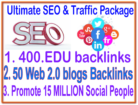HQ SEO & Social Campaigns- ​400 Edu Backlink- 50 Web 2.0 blogs-50 DA (Domain Authority) Backlink -Promote Your any Link 15 Million Social People
