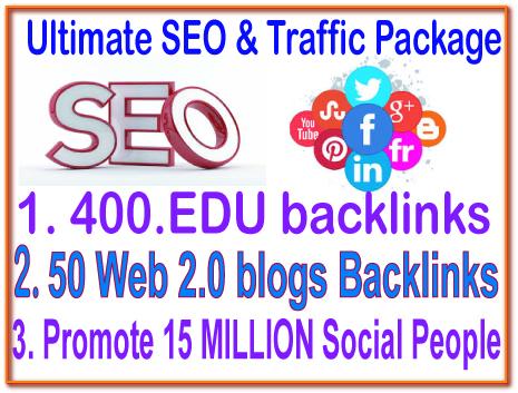 HQ SEO & Social Campaigns- 400 Edu Backlink- 50 Web 2.0 blogs-50 DA (Domain Authority) Backlink -Promote Your any Link 15 Million Social People