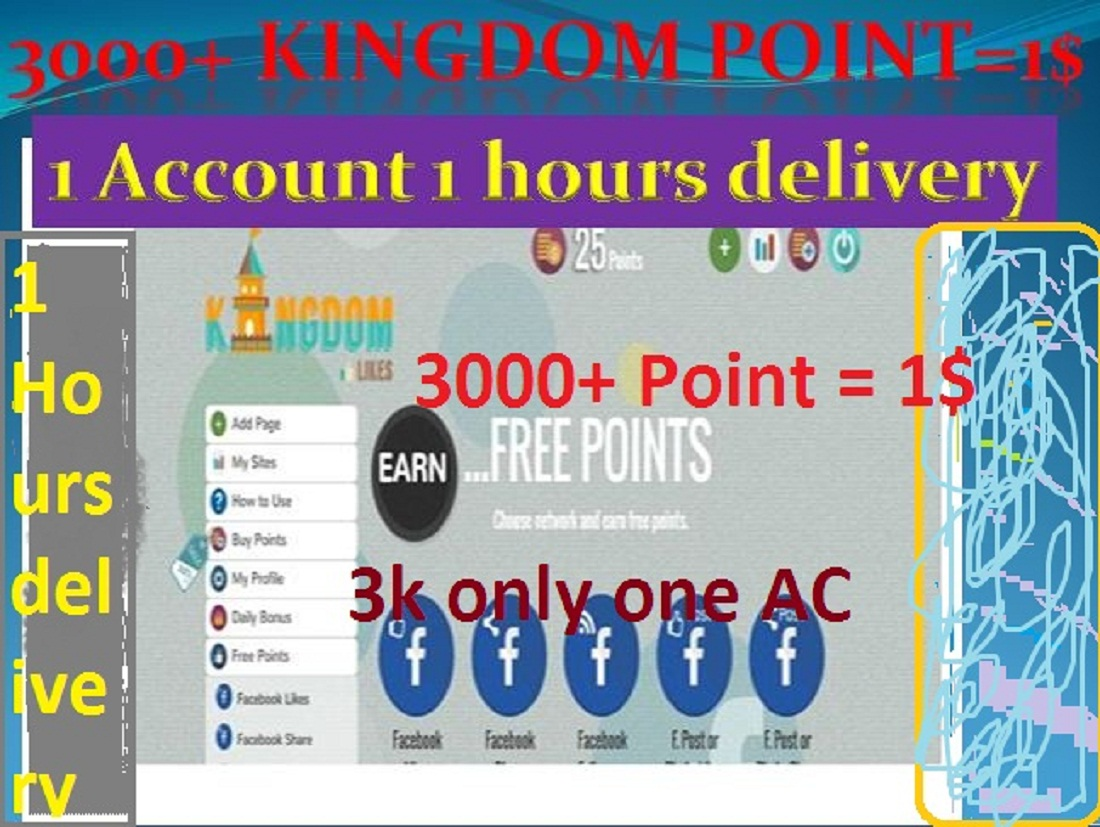 3000+ kingdomlikes Point in only 1 account 10 minutes delivery
