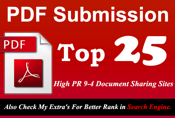 Manually Submit your Any Article in pdf Submission to Top 25 High PR 9 to 4 doc Sharing sites
