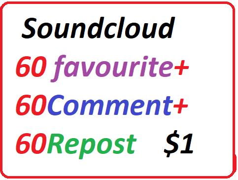 High quality Sound Cloud Services favourite Repost Comment for your track