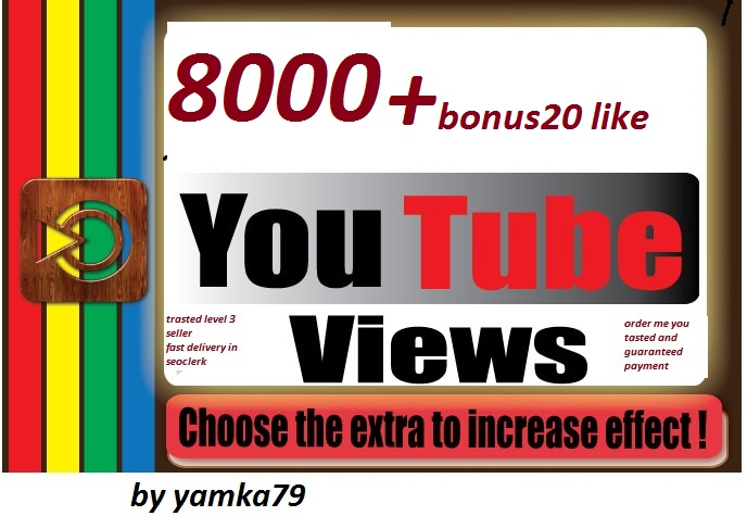 1500 youtube video views+20 youtube like bonus safe   72/96 hours delivery