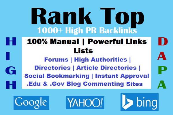 1000+ High PR9-3 Most Powerful Backlinks' Lists to Rank High Your Site #1 In Google