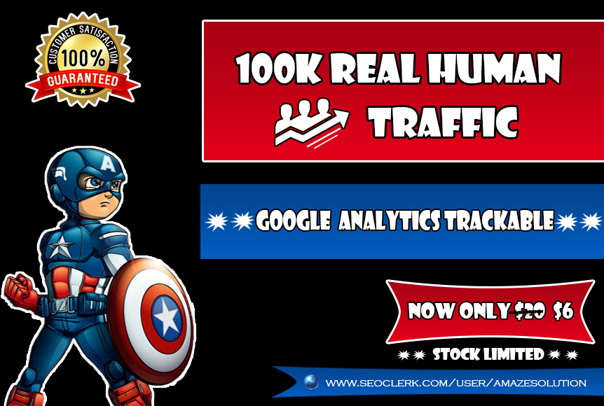 100K Real Human Traffic To Your Website
