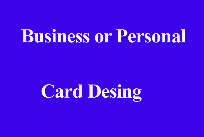 Business or Personal 2 Side Card Design