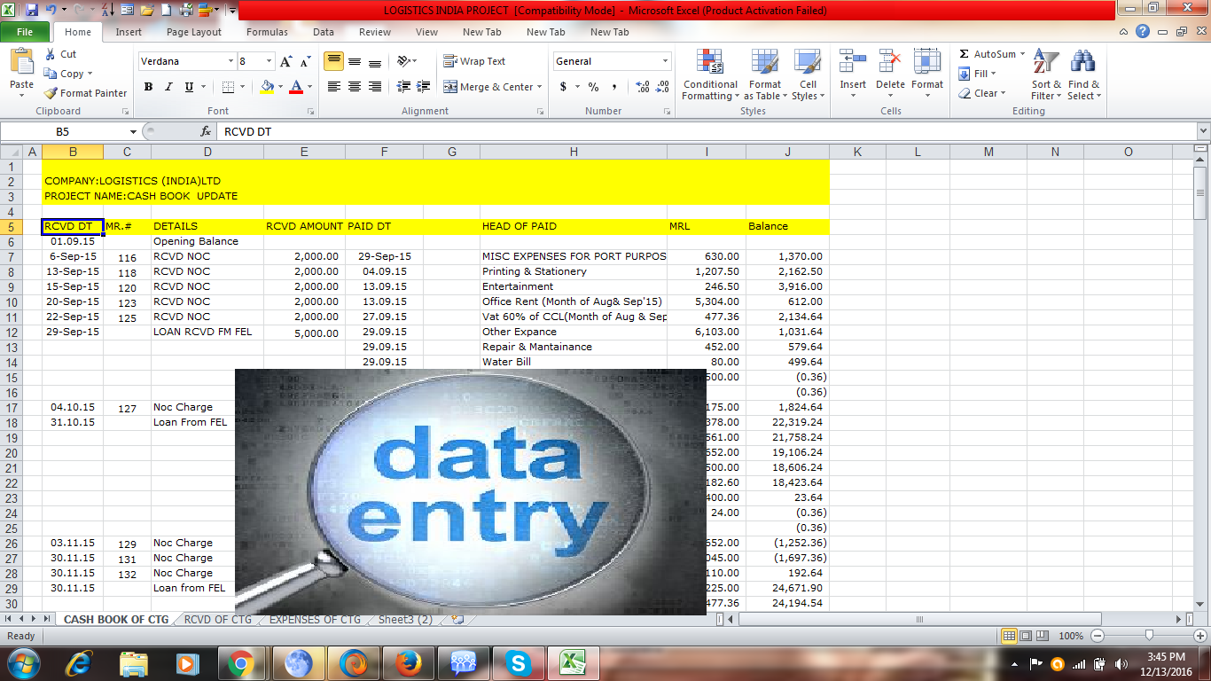 Do any kind of data entry work for 5 hours