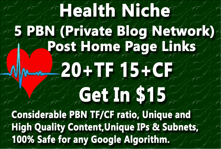 Health Niche Related 5 Permanent PBN Post with High CF TF