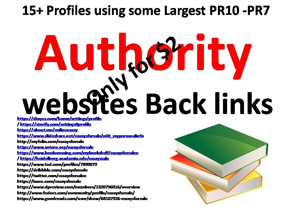 Create 15+ profiles using some of the Largest  PR10 – PR7 Authority websites Back links