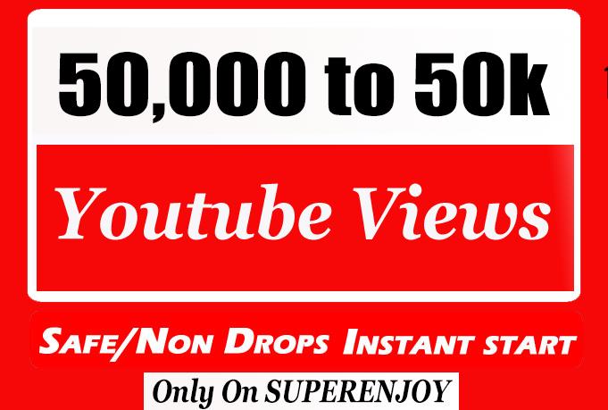 High Quality 50000 + 50k or 50,000 YouTube Views with extra instant start 10k, 10000, 20k, 20,000, 25k, 30,000, 100k, 100,000, 200k, 250k, 500k, 1 Million Views