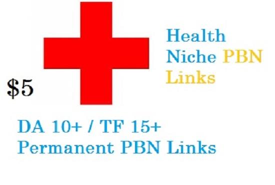 Health Niche Based Homepage PBN Links TF15+ CT 15+ DA13+