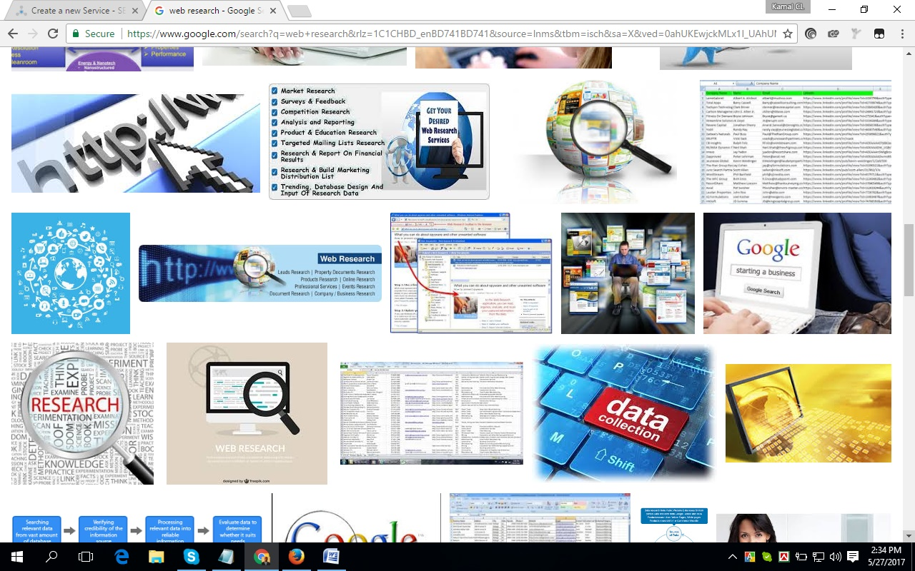 large number of website research