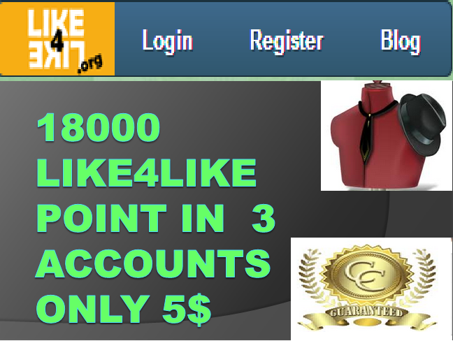18000+ Social Credits (Like4Like  in 3 Account ) 10 minutes Delivery