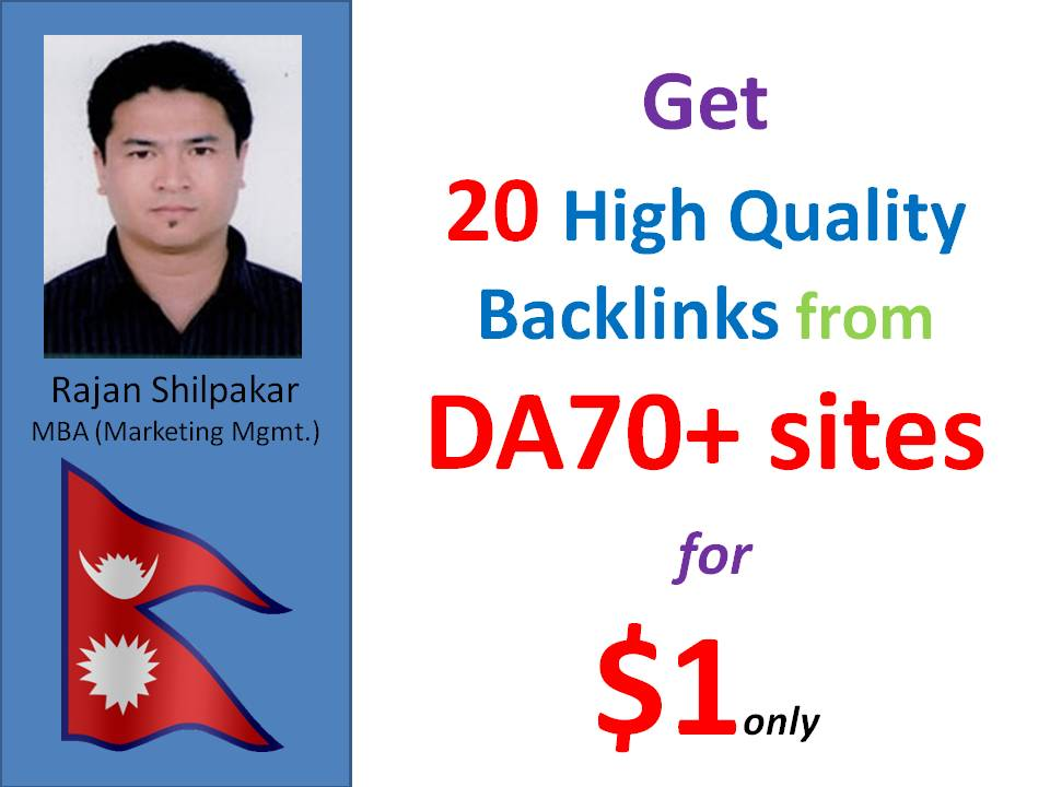 20 DA 70+ backlinks from Mix contextual and profiles backlinks