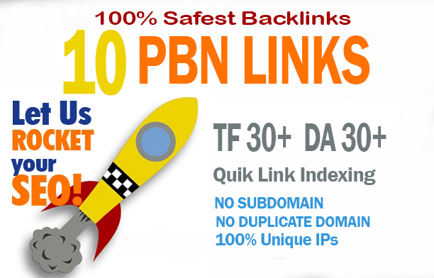 Give You 10 Manual Home Page TF CF DA PA 30+ PBN Backlinks