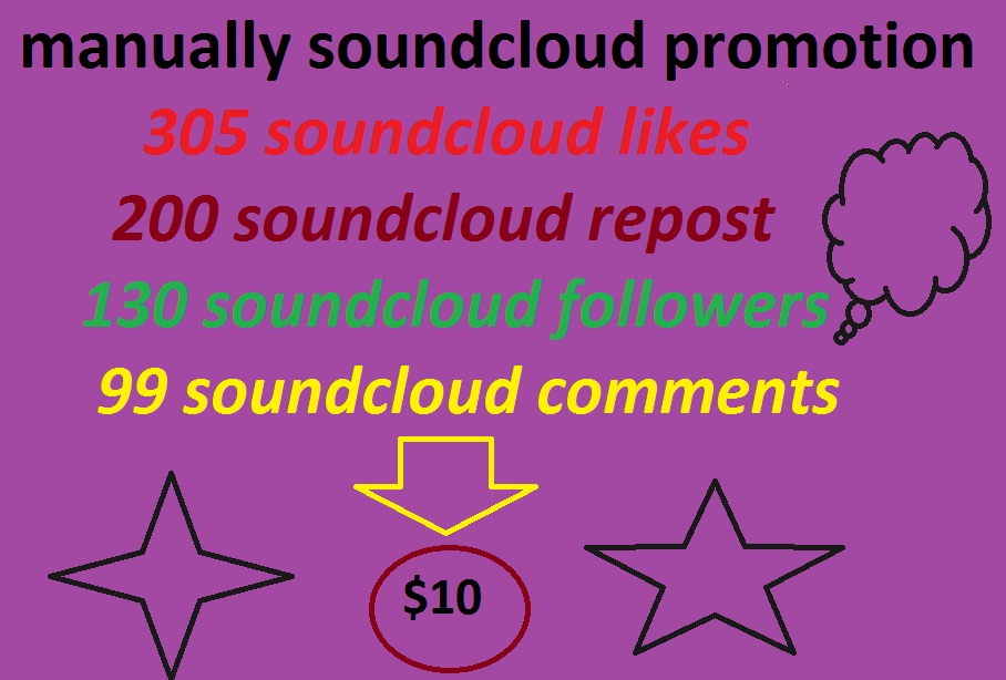 manually soundcloud promotion likes+repost + followers with comments