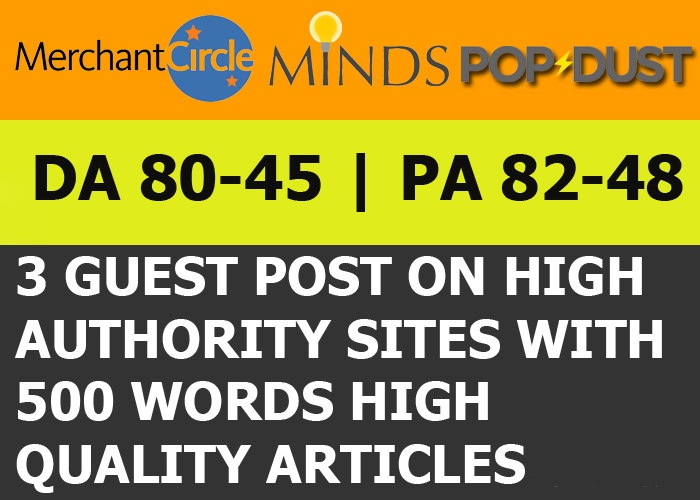 Guest post on Minds,  Merchantcircle & Format DA 45 - 82 + Articles