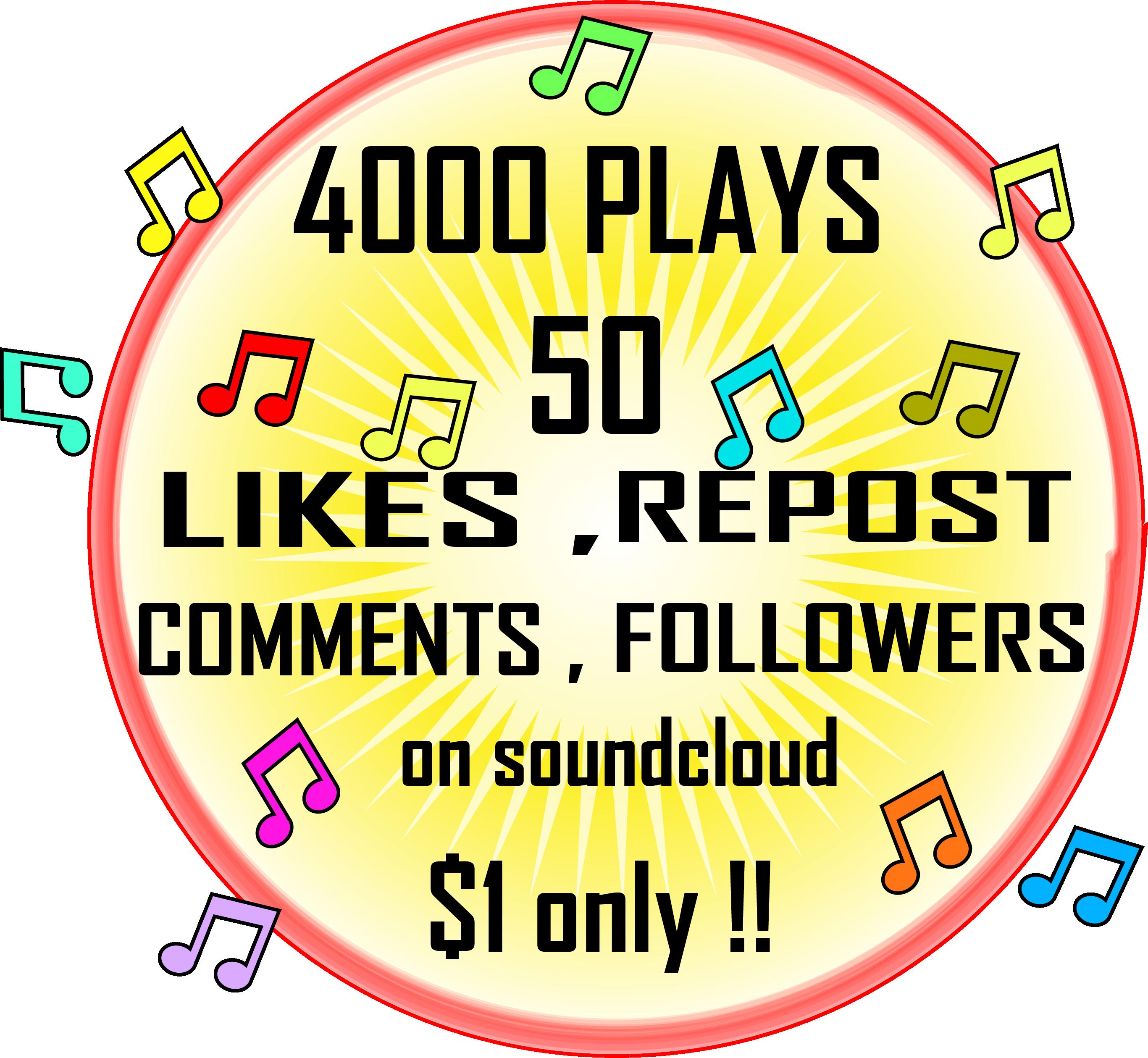 Soundcloud permanent 4k plays 50 Likes + Reposts + Comments + Followers