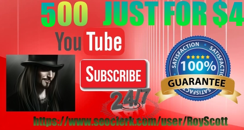 Special Offer-Real & Active 500 YouTube SubsCribers - Cheapest Rate