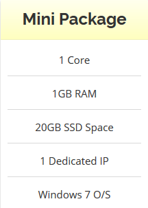 Windows VPS 1GB RAM - 20GB SSD - Anti Suspend - Unlimited Bandwidth