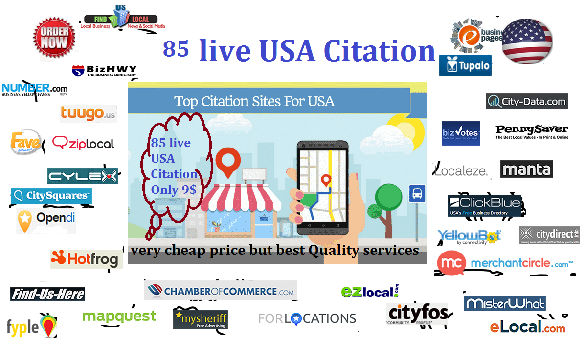 Create USA Top 85 Live local citation For USA New Business