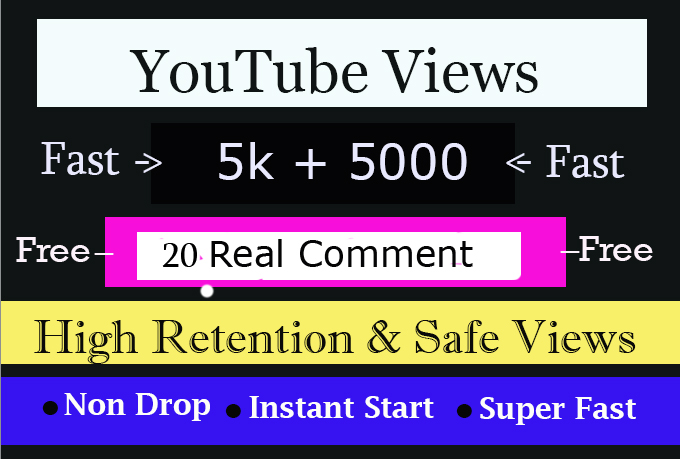 Fast 5K Or 5,000 High Quality,Safe & NonDrop 2000+2k+1k Total 5000 Youtube Views
