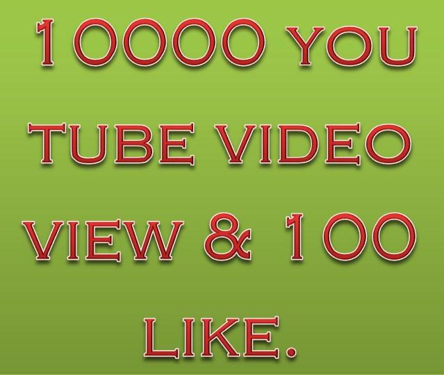 10000 You Tube video view & 100 like