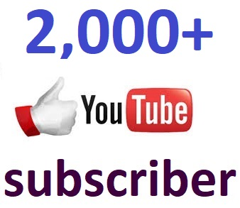 2000+You'tube channel subcriber non drop 12-24 hour in complete
