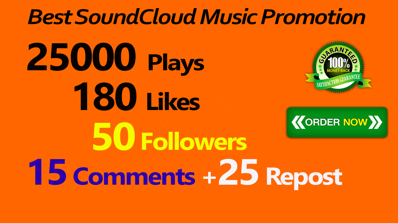 25000 Plays 180 Likes 50 Followers 15 Comments 25 Repost