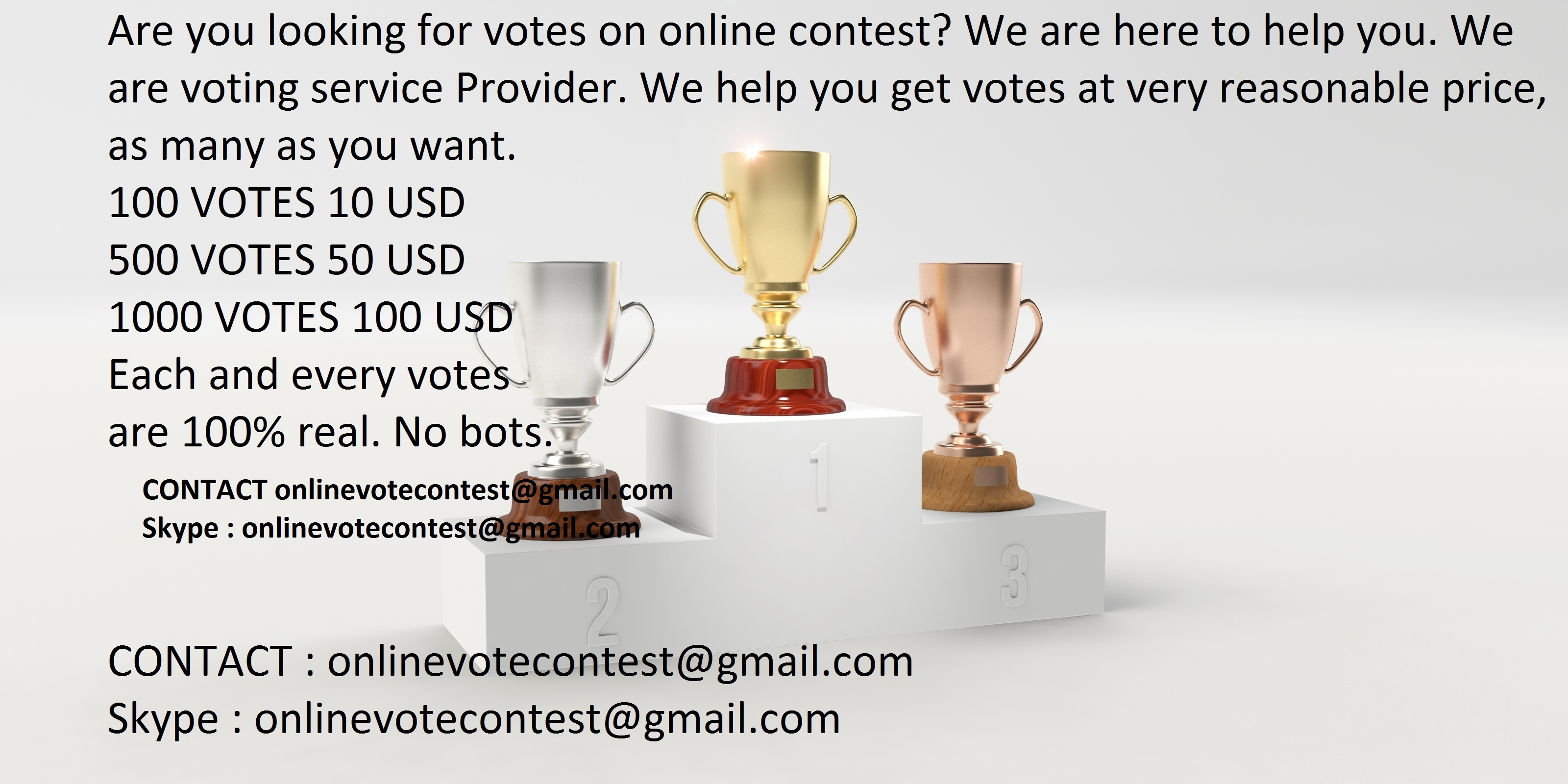 Manually get 150 Real online voting contest votes for $5