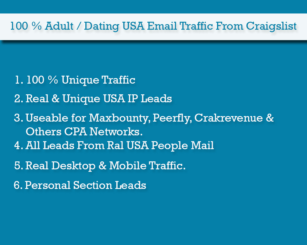 1000 Unique USA Dating Traffic for CPA Network