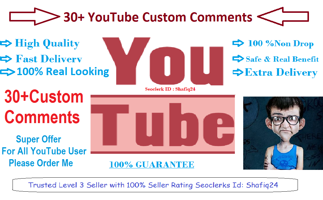 Give You 30+ High Quality YouTube Custom Comments Supper Fast Delivery Time 12-24 Hours