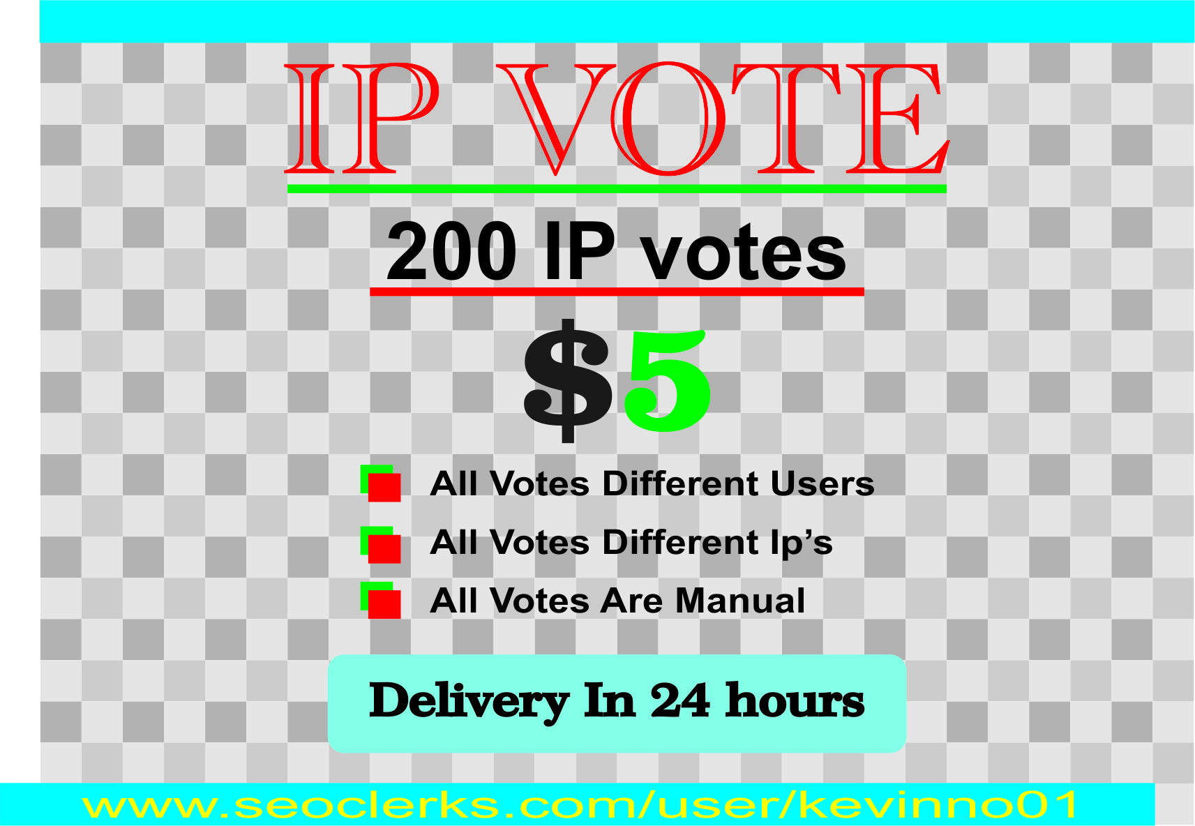 I will give 200 one click different IP address votes