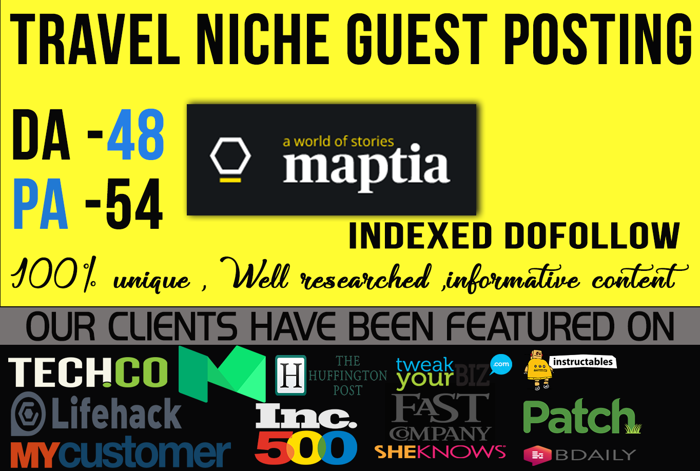 write & guest post from high authority travel sites Mapta com DA55 with dofollow backlink