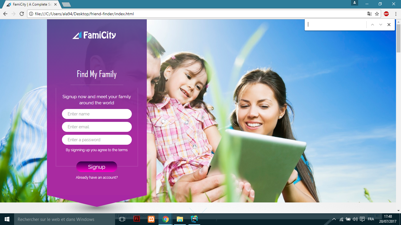 Get a responsive  Famicity Social Media Template all Screen sizes css Bootstrap