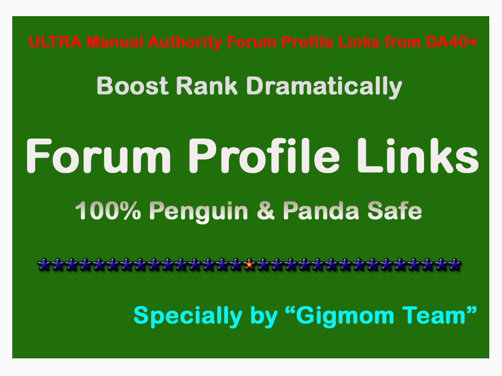 ULTRA DOFOLLOW 60 Forum Profile Links DA40+ for Organic Search Rankings