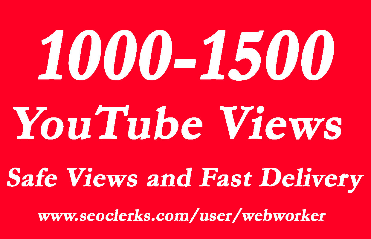 1000- 1500 Video Views with choice Extra service 1k, 2k, 5k, 10k, 20k, 200k, 1,000,2000, 3000, 4000, 5000, 6000, 7000, 8000, 9000,10000, 20000, 25000, 25k and 50,000, 50k, 100,000 100k Views