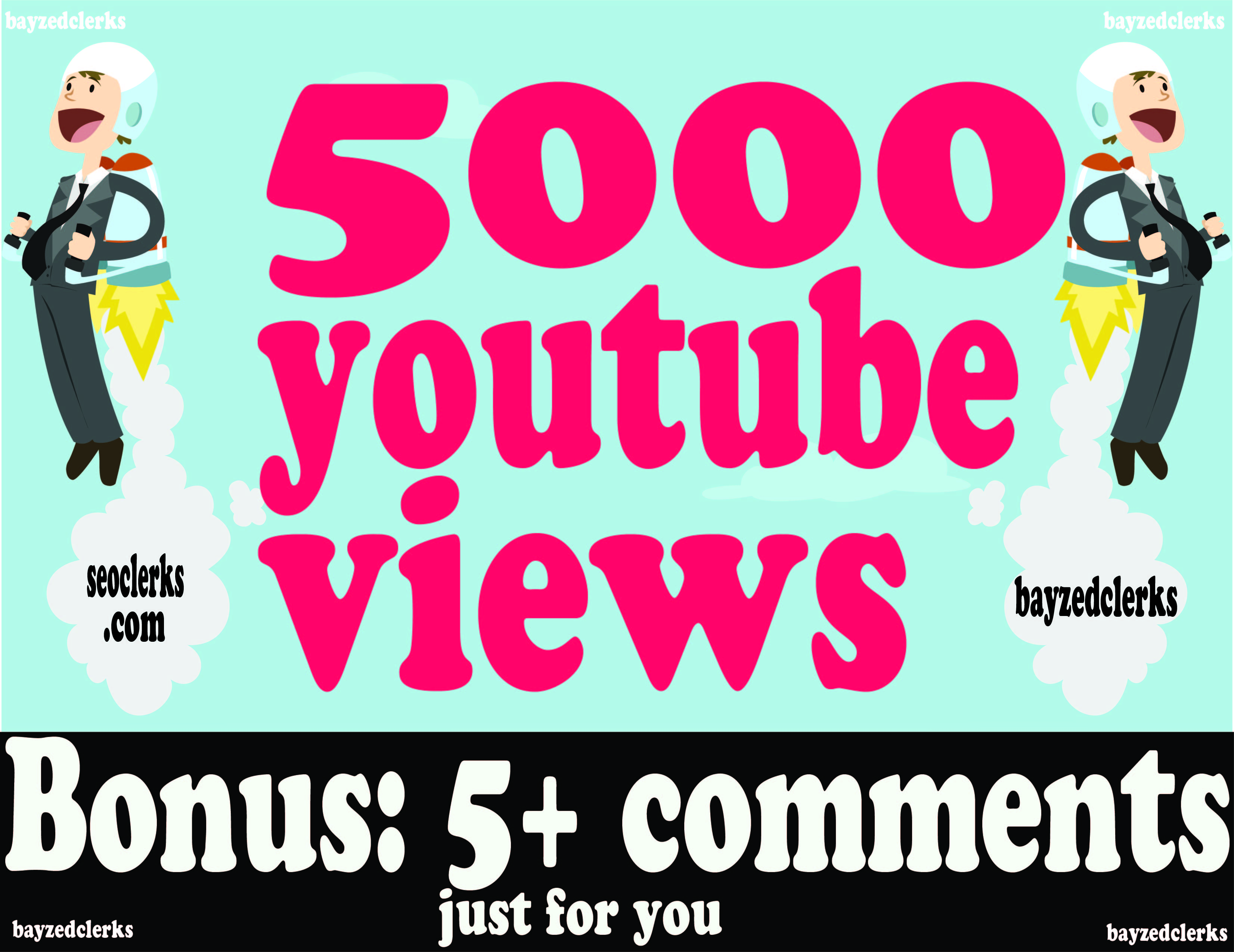 Guaranteed, HR, HQ, 5000 to 5500youtube views. Instant start, and fast delivery