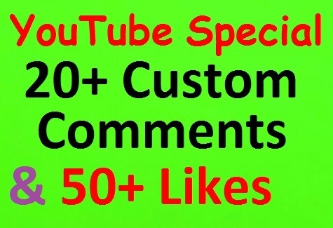 20+ YouTube Videos Custom Comment & 50+ Likes all Non-dropped and Good profiles