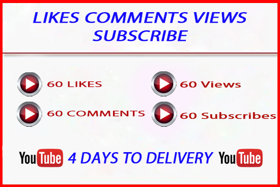 YouTube Real Account 60 Likes, 60 Comments, 60 Subscribe and 150 Views