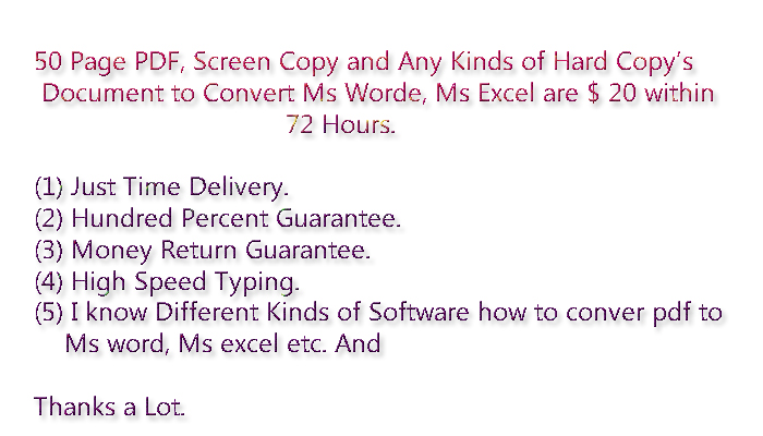 100 Page PDF Document Convert to Ms Word, Ms Excel  within 72 hours.